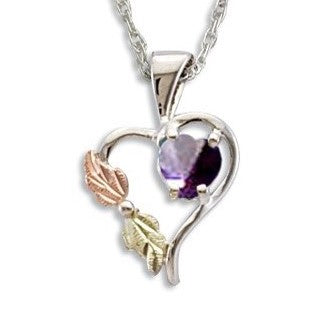 Landstrom's Black Hills Gold on Silver  Synthetic Alexandrite Heart Pendant Necklace - 12K Rose Pink and Green Gold Accents - Handmade -  MRLPE1045-306