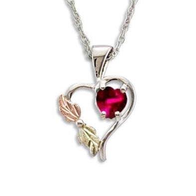 Landstrom's Black Hills Gold on Silver  Synthetic Ruby Heart Pendant Necklace - 12K Rose Pink and Green Gold Accents - Handmade -  MRLPE1045-307