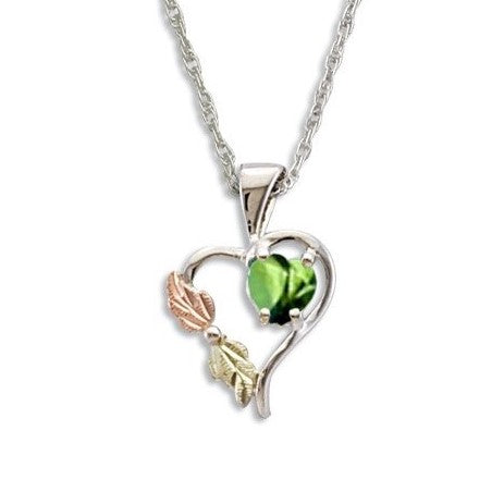 Landstrom's Black Hills Gold on Silver  Synthetic Peridot Heart Pendant Necklace - 12K Rose Pink and Green Gold Accents - Handmade -  MRLPE1045-308