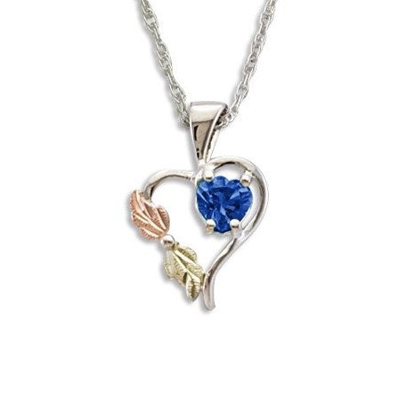Landstrom's Black Hills Gold on Silver Synthetic Blue Spinel Heart Pendant Necklace - 12K Rose Pink and Green Gold Accents - Handmade -  MRLPE1045-309
