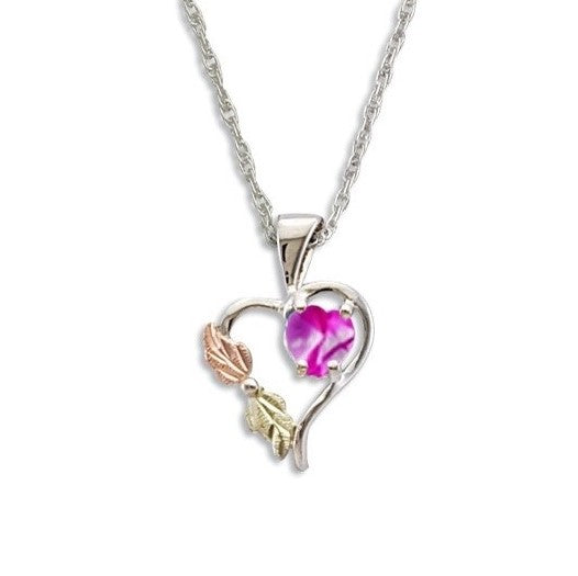 Landstrom's Black Hills Gold on Silver Synthetic Rose Zircon Heart Pendant Necklace - 12K Rose Pink and Green Gold Accents - Handmade -  MRLPE1045-310
