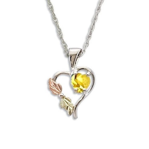 Landstrom's Black Hills Gold on Silver Synthetic Gold Topaz Heart Pendant Necklace - 12K Rose Pink and Green Gold Accents - Handmade -  MRLPE1045-311