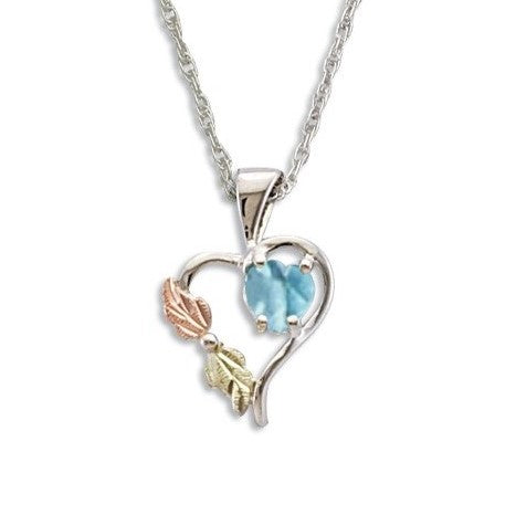 Landstrom's Black Hills Gold on Silver Synthetic Blue Zircon Heart Pendant Necklace - 12K Rose Pink and Green Gold Accents - Handmade -  MRLPE1045-312