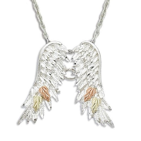 Landstrom's Black Hills Gold on Silver Angel Wings Pendant Necklace - 12K Rose Pink and Green Gold Accents - Handmade - MRLPE1932