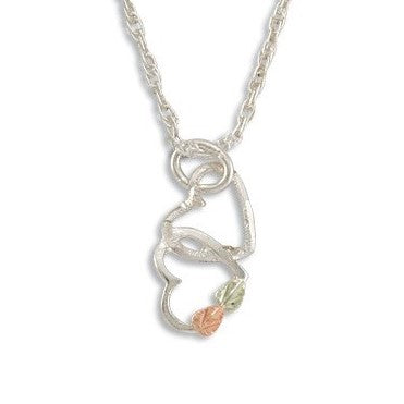 Landstrom's Black Hills Gold on Silver Two Hearts Pendant Necklace - 12K Rose Pink and Green Gold Accents - Handmade - MRLPE3101