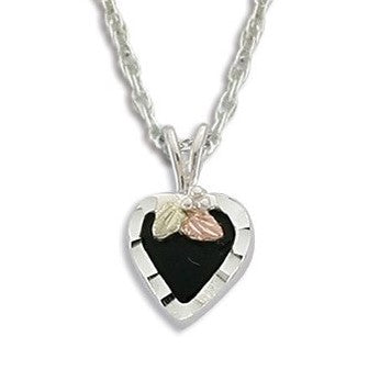 Landstrom's Black Hills Gold on Silver  Onyx Heart Pendant Necklace - 12K Rose Pink and Green Gold Accents - Handmade -  MRLPE3688