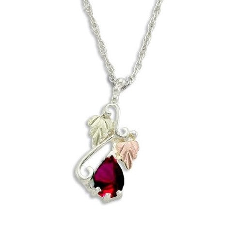 Landstrom's Black Hills Gold on Silver  Synthetic Garnet Pendant Necklace - 12K Rose Pink and Green Gold Accents - Handmade -  MRLPE3741-301