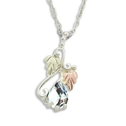 Landstrom's Black Hills Gold on Silver  Synthetic White Spinel Pendant Necklace - 12K Rose Pink and Green Gold Accents - Handmade - MRLPE3741-304