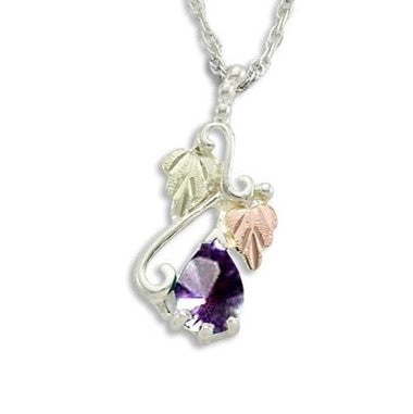 Landstrom's Black Hills Gold on Silver  Synthetic Alexandrite Pendant Necklace - 12K Rose Pink and Green Gold Accents - Handmade -  MRLPE3741-306