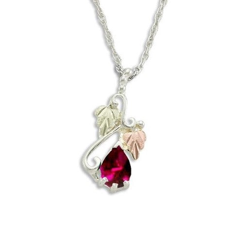 Landstrom's Black Hills Gold on Silver  Synthetic Ruby Pendant Necklace - 12K Rose Pink and Green Gold Accents - Handmade -MRLPE3741-307