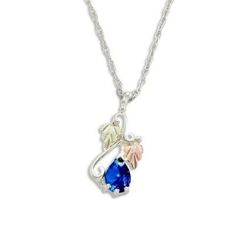Landstrom's Black Hills Gold on Silver Synthetic Blue Spinel Pendant Necklace - 12K Rose Pink and Green Gold Accents - Handmade - MRLPE3741-309