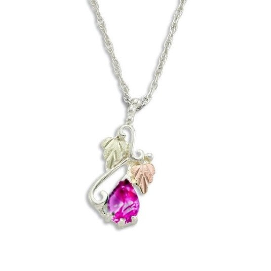 Landstrom's Black Hills Gold on Silver  Synthetic Rose Zircon Pendant Necklace - 12K Rose Pink and Green Gold Accents - Handmade - MRLPE3741-310