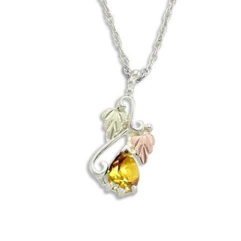 Landstrom's Black Hills Gold on Silver  Synthetic Gold Topaz Pendant Necklace - 12K Rose Pink and Green Gold Accents - Handmade - MRLPE3741-311