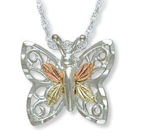 Landstrom's Black Hills Gold on Silver Butterfly Pendant Necklace - 12K Rose Pink and Green Gold Accents - Handmade - MRLPE516