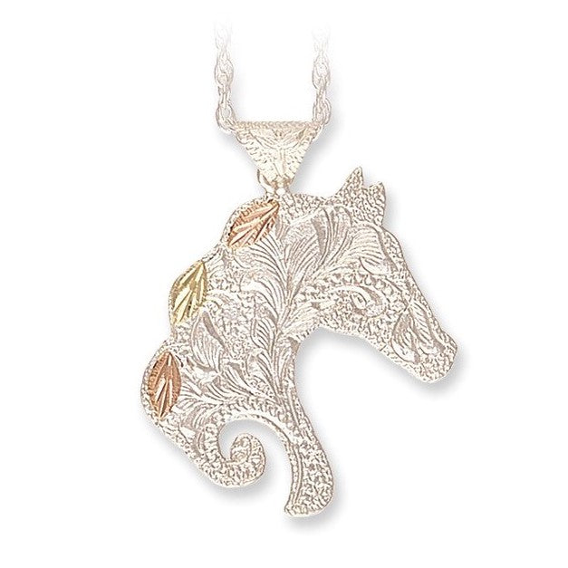 Landstrom's Black Hills Gold on Silver Horse Head Pendant Necklace - 12K Rose Pink and Green Gold Accents - Handmade - MRLPE626