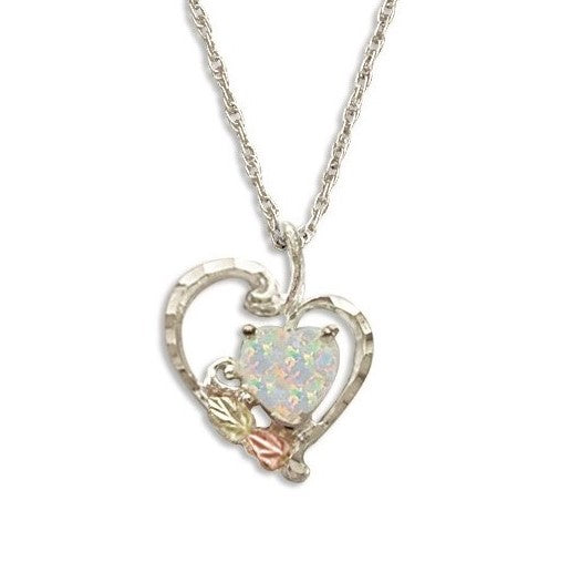 Landstrom's Black Hills Gold on Silver Lab Opal Heart and Leaves Pendant Necklace - 12K Rose Pink and Green Gold Accents - Handmade -  MRLPE628