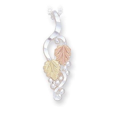 Landstrom's Black Hills Gold on Silver  Leaves and Grapes Pendant Necklace - 12K Rose Pink and Green Gold Accents - Handmade - MRLPE629