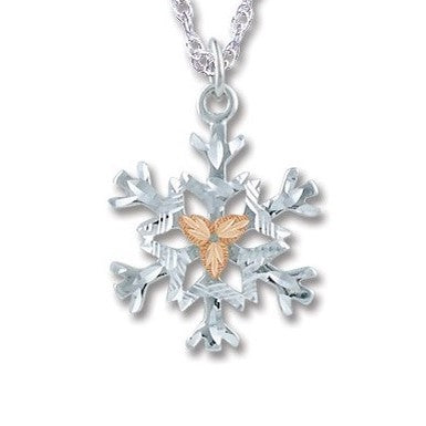 Landstrom's Black Hills Gold on Silver Snowflake Pendant Necklace - 12K Rose  Gold Accents - Handmade - MRLPE972