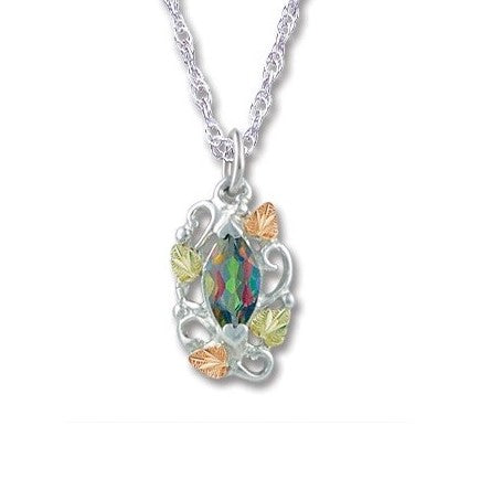 Landstrom's Black Hills Gold on Silver  Mystic Fire Topaz with Grape Leaves and Vines Pendant Necklace - 12K Rose Pink and Green Gold Accents - Handmade -  MRLPE983-471