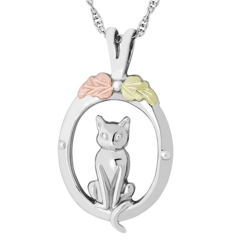 Mt. Rushmore Black Hills Gold on Silver Cute Cat Necklace - 12K Rose and Green Gold Accents - Handmade - MRSD20289
