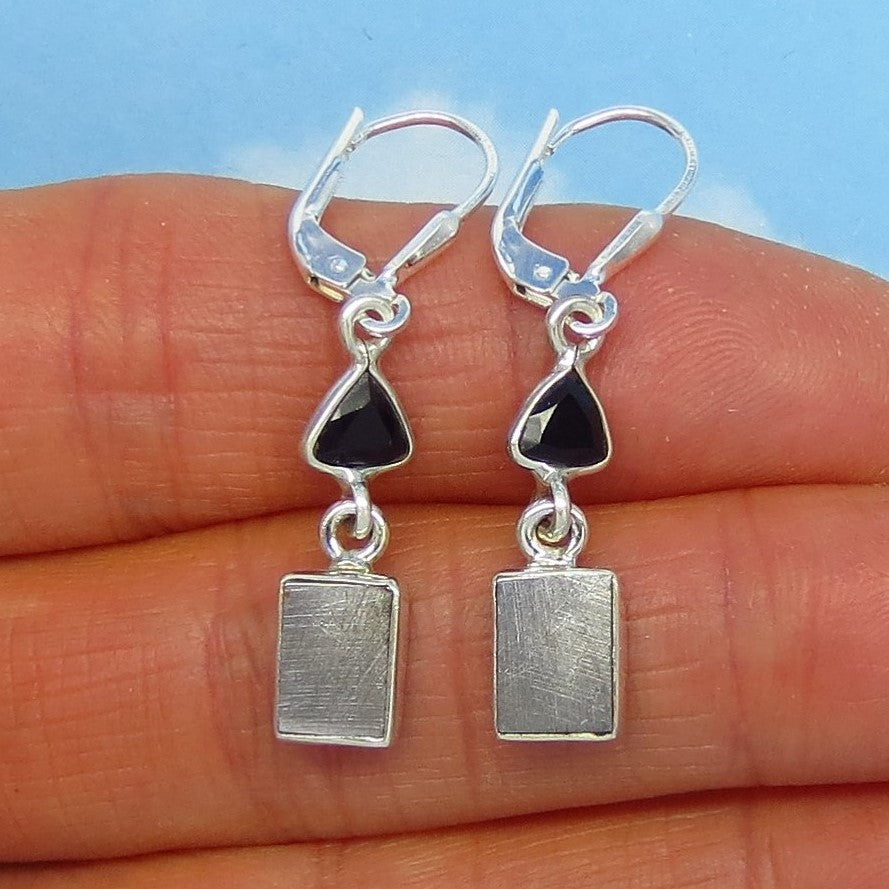 Muonionalusta Meteorite Earrings - Leverback - Sterling Silver - Small - Celestial - Sweden Natural Genuine - Trillion Rectangle 171689