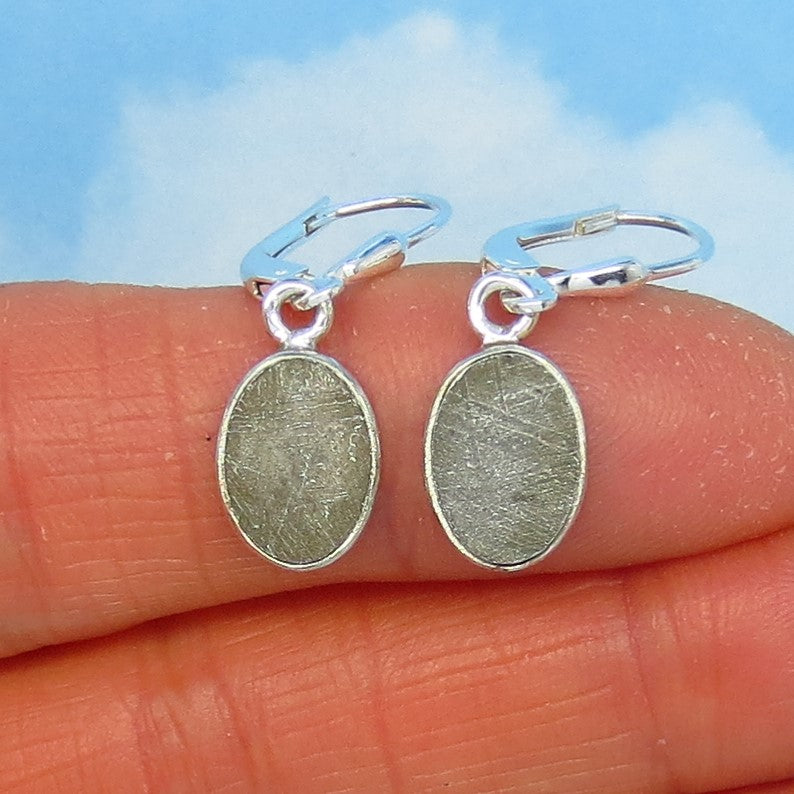 Muonionalusta Meteorite Earrings - Leverback - Sterling Silver - Small, Lightweight - Iron Meteorite - Sweden - Oval - 172252