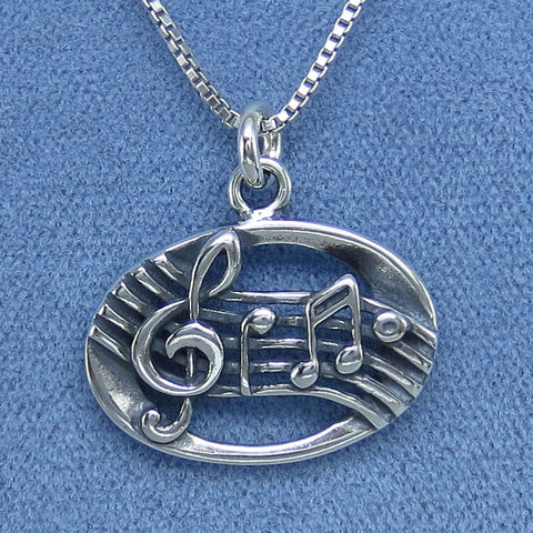 Music Note Necklace Sterling Silver Choice of Length P250656