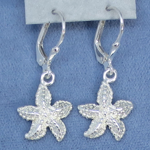 Tiny Starfish Sterling Silver Leverback Earrings - Dainty - Made in Italy -- 210652
