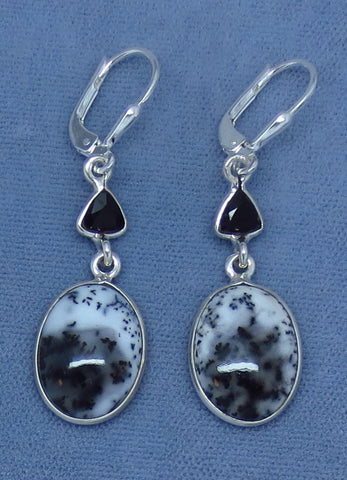Merlinite Dendrite Opal & Black Onyx Earrings - Leverback - Sterling Silver - Long Dangles - 161847m