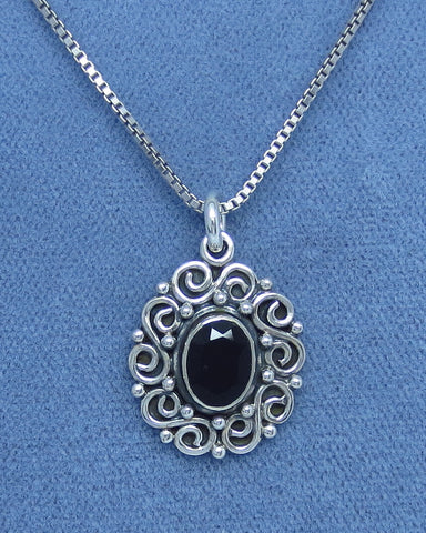 Petite Genuine Faceted Black Onyx Necklace - Sterling Silver - Victorian Filigree Design - Oval - Handmade -- B170725