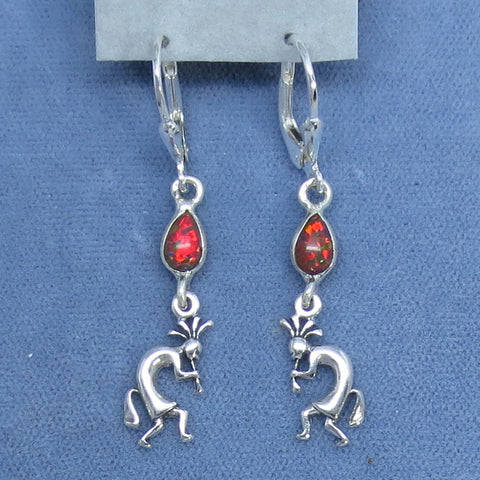 Lab Opal Kokopelli Earrings - Leverback - Sterling Silver - Corn God - Music - Dainty Delicate -- 260708