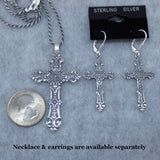 Large Ornate Oxidized Cross Necklace - Sterling Silver - P8642