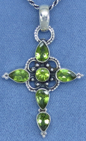 Genuine Peridot Cross Necklace - Sterling Silver - Victorian Filigree Design - Hand Made - PC141205