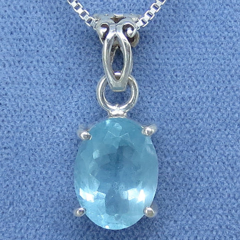 12mm x 9mm Genuine Unheated Oval Aquamarine Necklace - Sterling Silver - Handmade - AQ182518