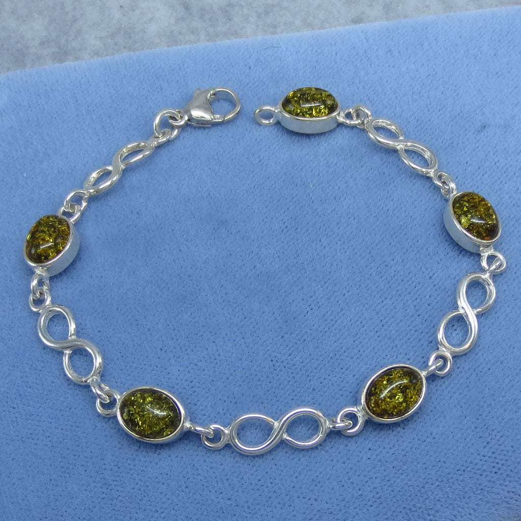 "7"" Green Baltic Amber Bracelet - Sterling Silver - Infinity - Oval - Simple - Handmade in Poland - M382"