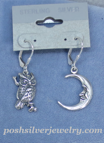 Sterling Silver Owl and Moon Earrings - Leverback - Large ish - Handmade -- 170972