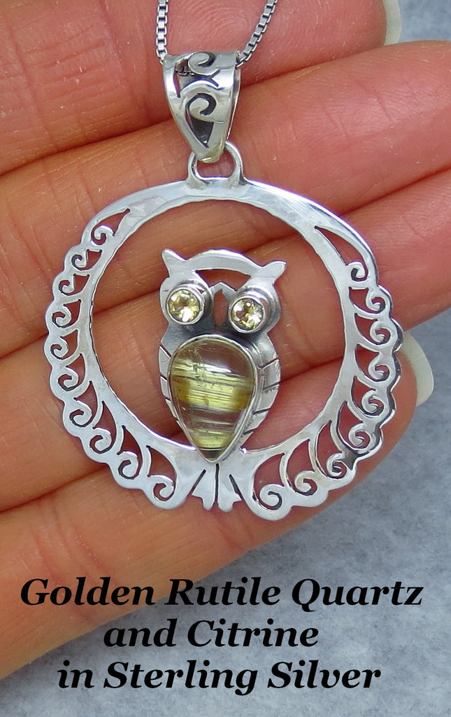 Golden Rutilated Quartz & Citrine Owl Necklace - Sterling Silver - Golden Rutile - P171508