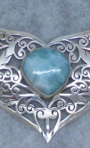 Genuine Larimar Collar Necklace - Sterling Silver - Jali Filigree - Hand Made - C165371