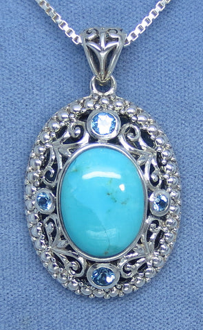 Large Sleeping Beauty Turquoise & Sky Blue Topaz Filigree Pendant - Sterling Silver - Hand Made - P171908