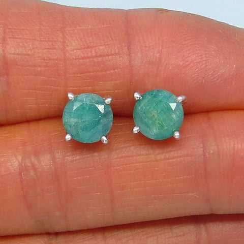 3.1ctw Natural Emerald Stud Earrings - Raw Genuine Emerald - 7mm Round - Post Earrings - jy181103