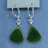 Genuine Nephrite Jade Earrings - Leverback - Sterling Silver - Triangle Pear Shape - Simple - Green - Lucky - 181976