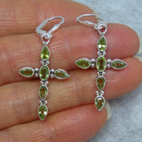 Genuine Peridot Cross Earrings - Leverback - Sterling Silver - Gemstone - 172027