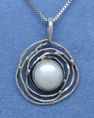 Genuine Freshwater Pearl Necklace - Sterling Silver - White - Bird Nest - Petroglyph Moon Sun - Handmade - WP171244