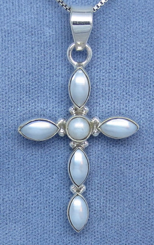 White Freshwater Pearl Cross Necklace - Sterling Silver - Simple - Large - Gemstone - C181405