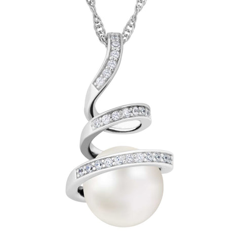 Silver Elegance Pearl and White Topaz Swirl Necklace - Sterling Silver - Made to Order - PESP2009WP