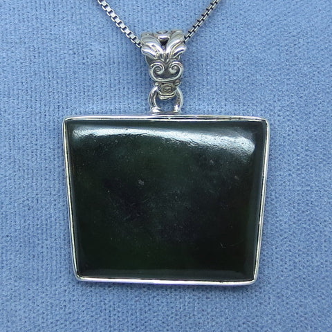 Genuine Nephrite Jade Necklace - Sterling Silver - Trapezoid Geometric - Dark Green - 181658