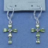 Genuine Peridot Cross Earrings - Leverback - Sterling Silver - 2.10cts - 173005