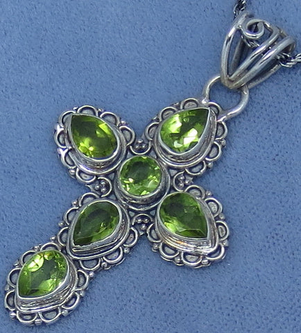 Genuine Peridot Cross Necklace - Sterling Silver - Victorian Filigree Design - Hand Made - P261212