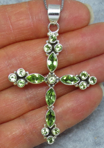 Large Genuine Peridot Cross Necklace - Sterling Silver - Victorian Design - Gemstone Cross - C162057
