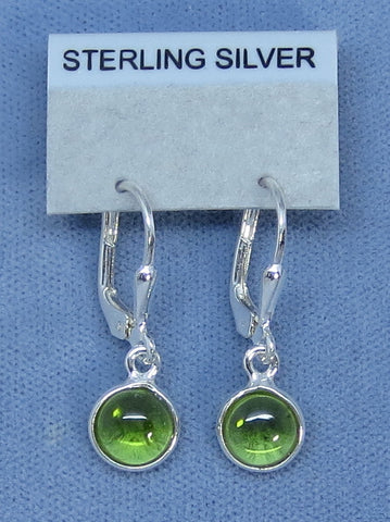 Small Genuine Peridot Leverback Earrings - Sterling Silver - Round Drops - Handmade - 180802